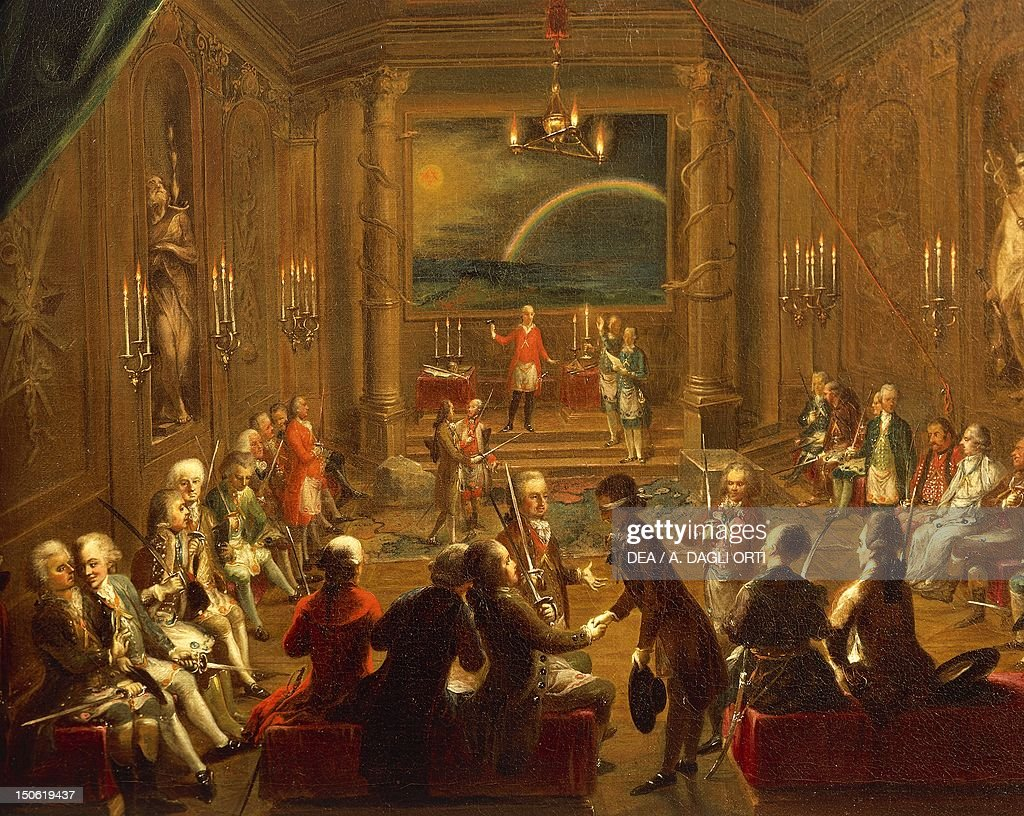Initiation ceremony in a Viennese Masonic Lodge during the reign of Joseph II by Ignaz Unterberger Detail Austria 18th century