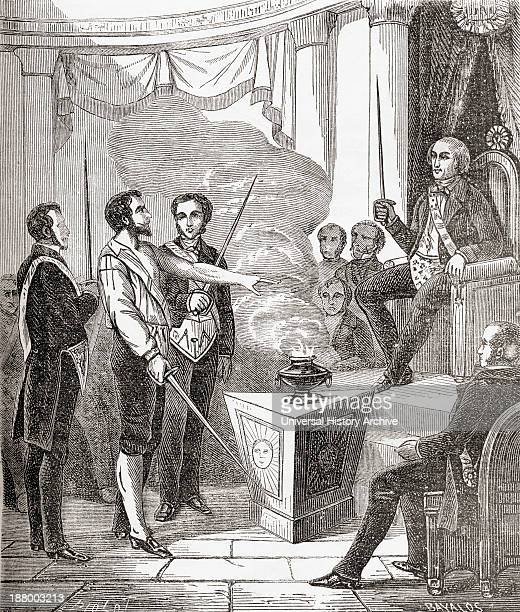 Initiation Of A French Mason Into The Brotherhood In The Late 19Th Century From Societes Secretes Les Francs Macons Published Circa 1867