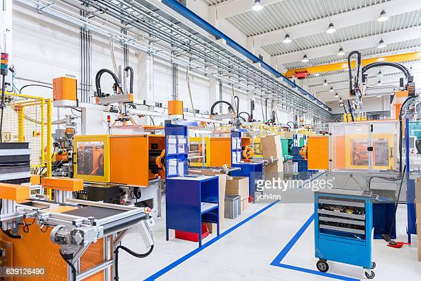 Injection moulding modern machines in factory