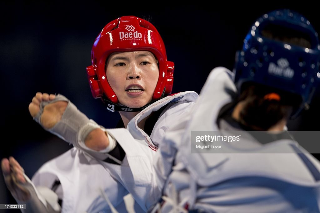 In-Jong Lee of Korea (red) competes with Reshmine Oogink of Holland during the women's -73 kg combat of WTF World Taekwondo Championships 2013 at the exhibitions Center on July 19, 2013 in Puebla, Mexico.