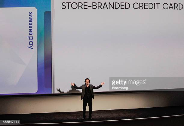 Injong Rhee senior vice president of KNOX Business for Samsung Electronics Co speaks during the Samsung Unpacked 2015 event in New York US on...