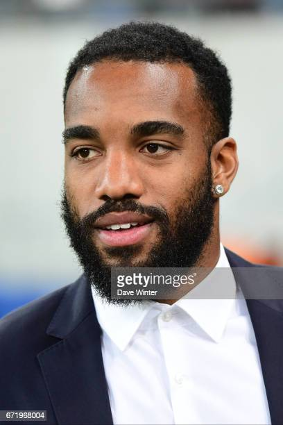 Injured Alexandre Lacazette of Lyon during the Ligue 1 match between Olympique Lyonnais and AS Monaco at Stade des Lumieres on April 23 2017 in...