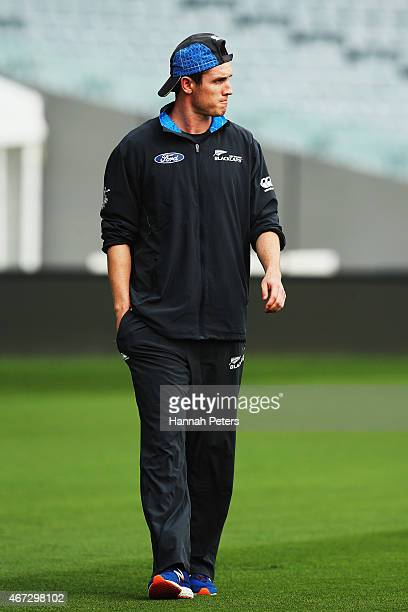 Injured bowler Adam Milne arrives for a New Zealand nets session at Eden Park on March 23 2015 in Auckland New Zealand