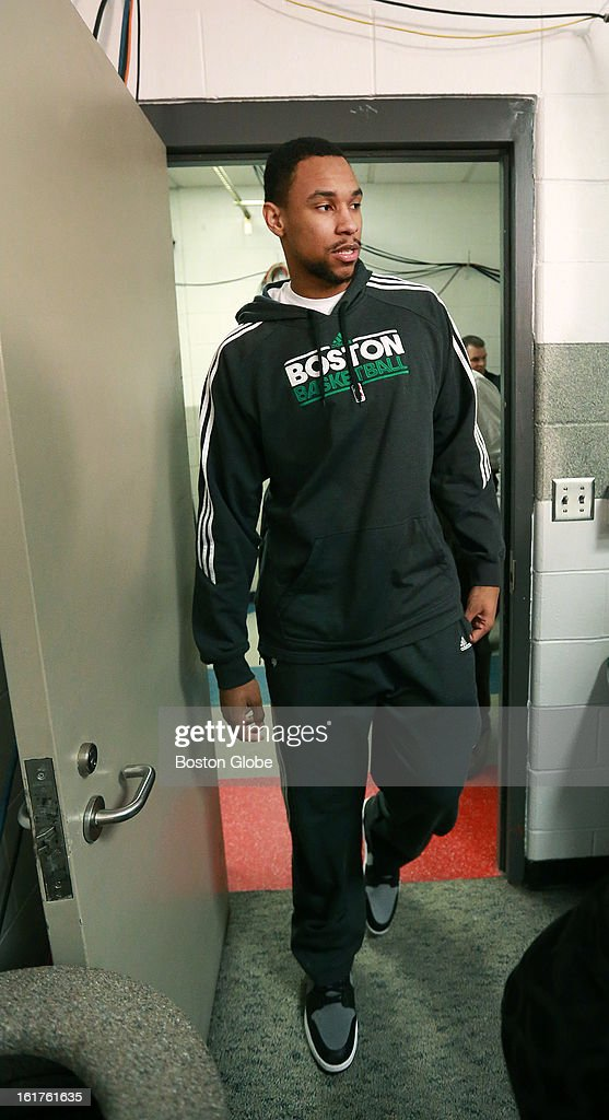 Injured Celtics rookie Jared Sullinger walks into a room to meet the media as he discussed his rehab from back surgery before the Boston Celtics hosted the Chicago Bulls in an NBA regular season basketball game at the TD Garden.