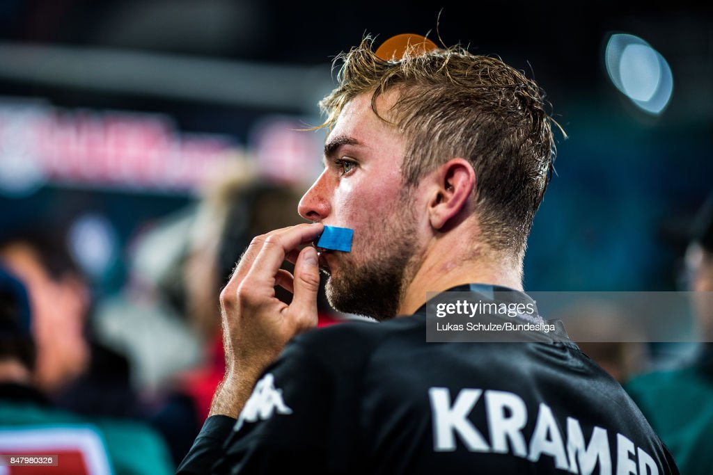 Injured Christoph Kramer is seen after the Bundesliga match between RB Leipzig and Borussia Moenchengladbach at Red Bull Arena on September 16, 2017 in Leipzig, Germany.