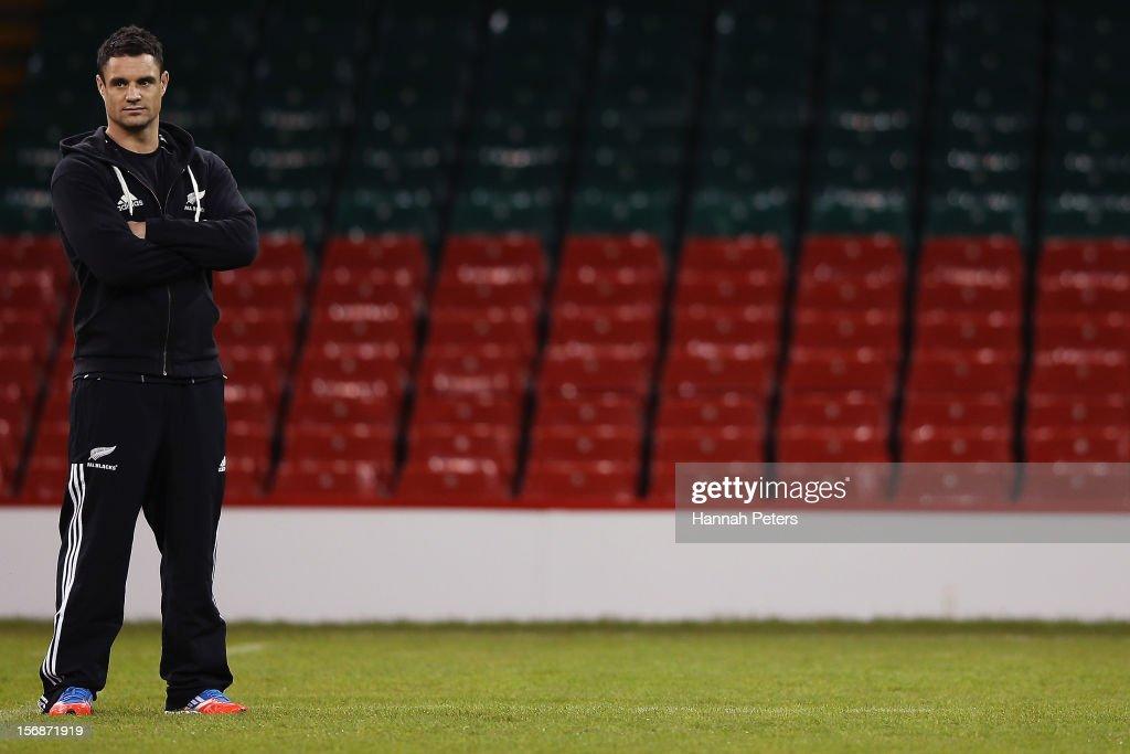 Injured Daniel Carter of the All Blacks looks on during a captain's run at Millennium Stadium on November 23, 2012 in Cardiff, Wales.