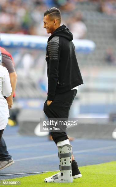 Injured Davie Selke of Hertha BSC Berlin during an interview during the Bundesliga match between Hertha BSC and VfB Stuttgart at Olympiastadion on...