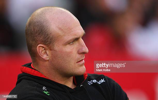 Injured Dragons foward Michael Weyman watches on from the bench during the round 11 NRL match between the St George Illawarra Dragons and the South...