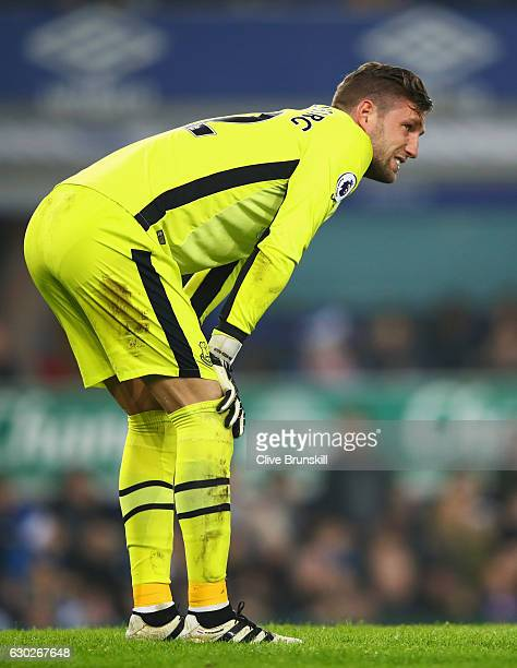Injured goalkeeper Maarten Stekelenburg of Everton looks on during the Premier League match between Everton and Liverpool at Goodison Park on...