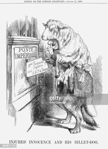 'Injured Innocence and his BilletDoo' 1860 Napoleon III as a wolf in sheep's clothing Savoy and Nice lambs to the slaughter hang in a string bag He...