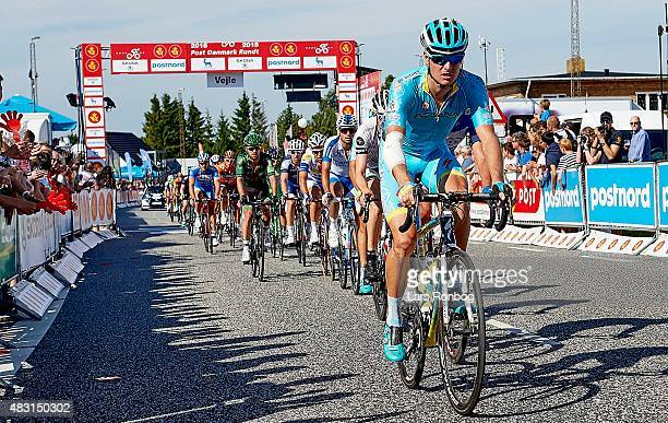 A injured Jakob Fuglsang of Team Astana on the finishline during stage 3 of the 2015 Tour of Denmark a 185km stage from Vejle to Vejle on August 6...