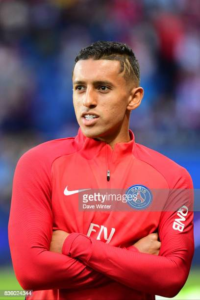Injured Marquinhos of PSG before the Ligue 1 match between Paris Saint Germain and Toulouse at Parc des Princes on August 20 2017 in Paris