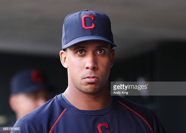 Injured MIchael Brantley of the Cleveland Indians before the MLB game action against the Minnesota Twins on August 15 2015 at Target Field in...