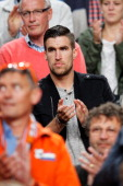 Injured Netherlands player Kevin Strootman watches the action during the International Friendly match between The Netherlands and Wales at Amsterdam...