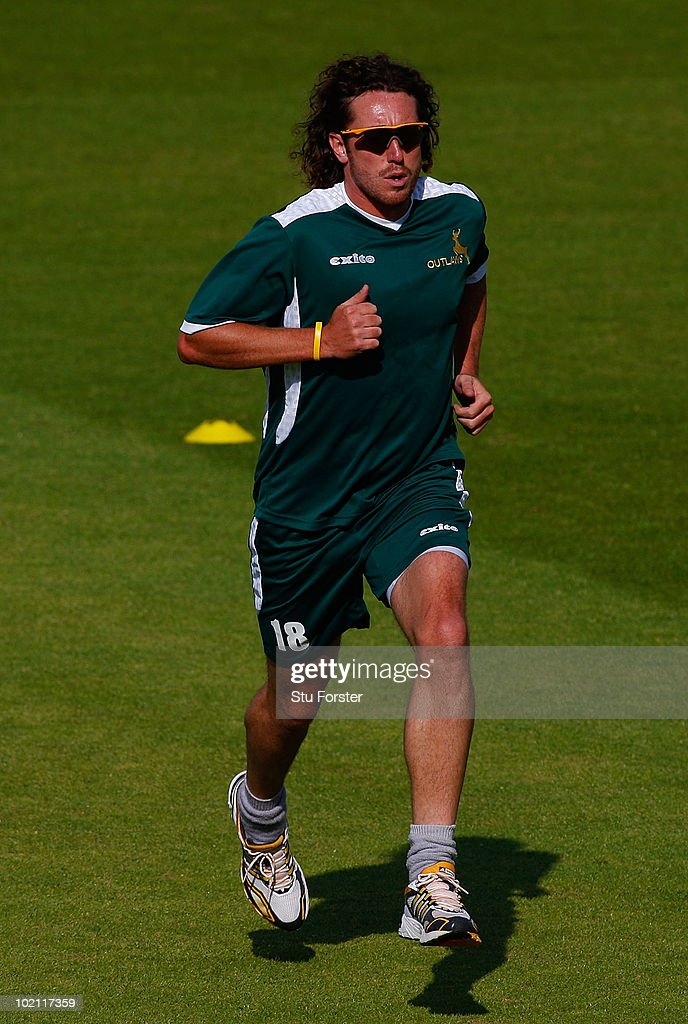 Injured Nottinghamshire bowler Ryan Sidebottom has a fitness test before the Friends Provident T20 match between Nottinghamshire and Lancashire at Trent Bridge on June 15, 2010 in Nottingham, England.