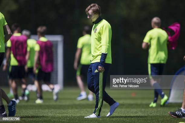 Injured of Simon Tibbling of Sweden during the Swedish U21 national team MD1 training at Stadion Miejski on June 21 2017 in Swidnik Poland
