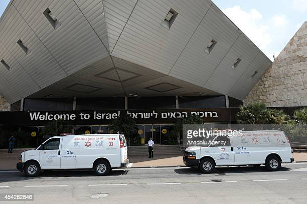 Injured Palestinians arrive to Ben Gurion Airport to be airlifted to Turkey for their treatments in Tel Aviv Israel on August 28 2014 Turkish...