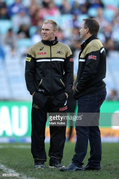 Injured Panthers player Peter Wallace watches on during the warmup ahead the round 13 NRL match between the Canterbury Bulldogs and the Penrith...