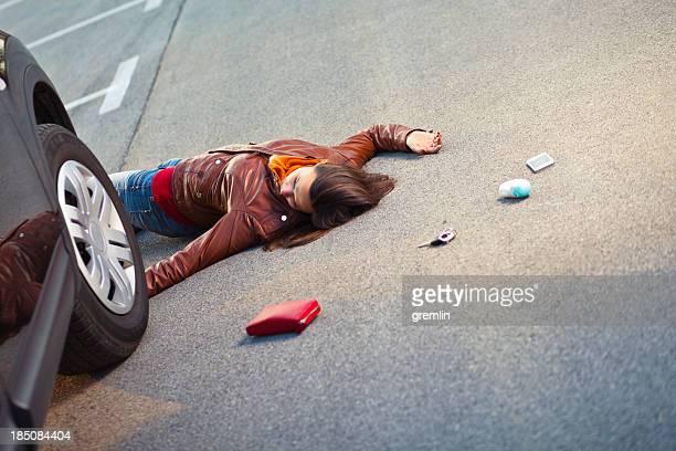 Injured pedestrian in a car accident