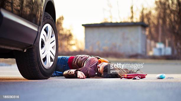 Injured pedestrian in a car accident