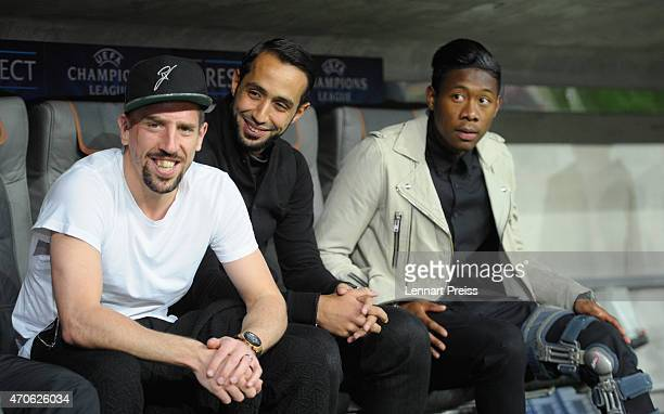 Injured players Franck Ribery Medhi Benatia and David Alaba of Munich sit on the bench prior to the UEFA Champions League quarter final second leg...