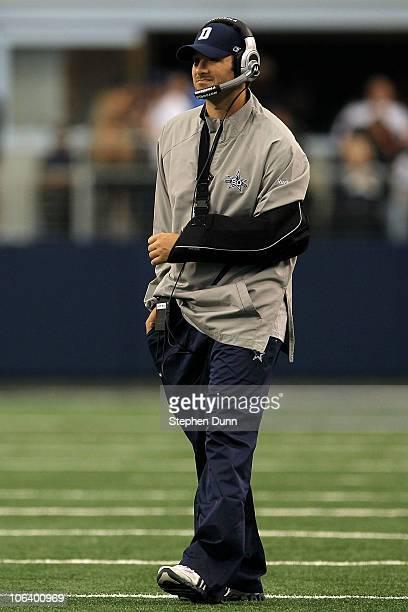 Injured quarterback Tony Romo of the Dallas Cowboys looks on against the Jacksonville Jaguars at Cowboys Stadium on October 31 2010 in Arlington Texas