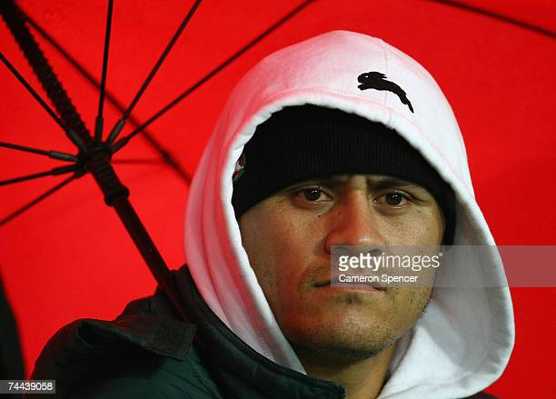 Injured Rabbitoh player David Kidwell watches the action from the sideline during the round 13 NRL match between the South Sydney Rabbitohs and the...