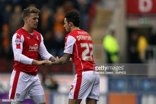 injured Rotherham United's Danny Ward is replaced by Rotherham United's Matt Derbyshire
