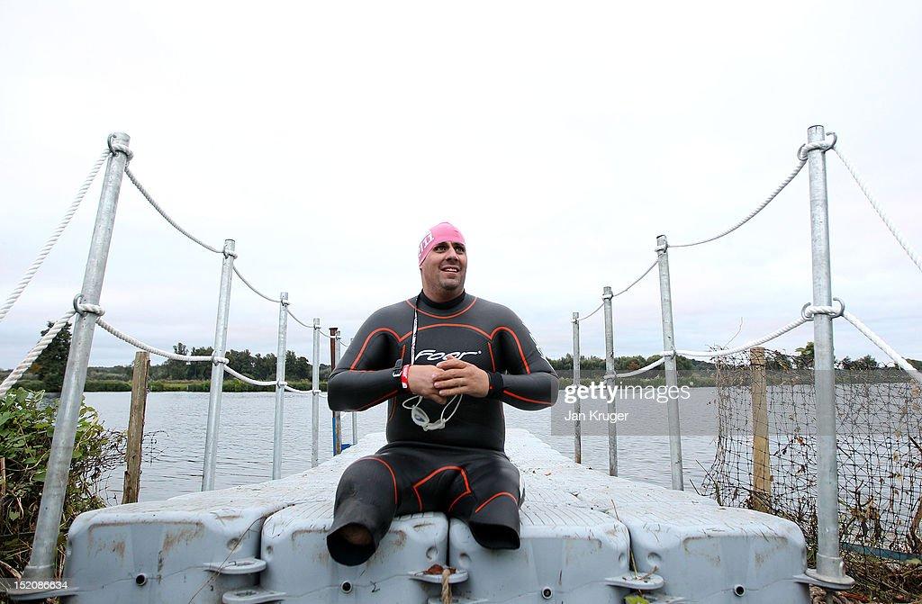Injured serviceman, Simon Armour prepares for the swim leg during the Challenge Henley-on-Thames Triathlon on September 16, 2012 in London, England.