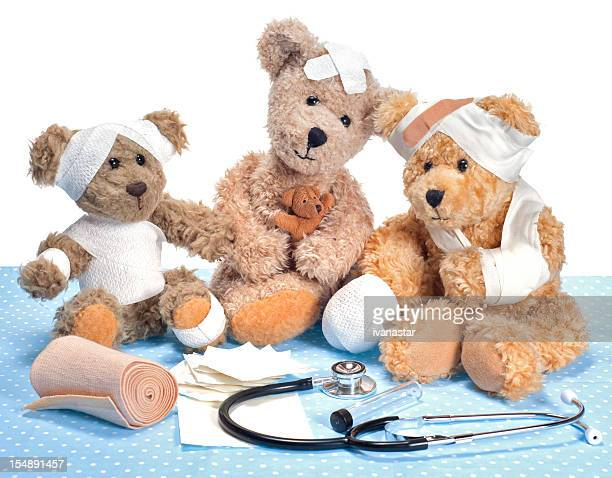 Injured Teddy Bears in Hospital