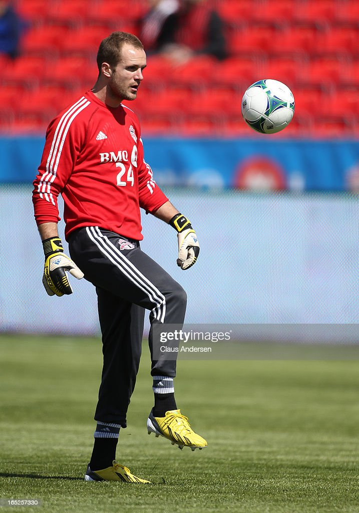 Injured Toronto FC goalie Stefan Frei #24 handles the ball prior to a warm-up for an MLS game against the LA Galaxy on March 30, 2013 at BMO field in Toronto, Ontario, Canada. The LA Galaxy and the Toronto FC played to a 2-2 tie.