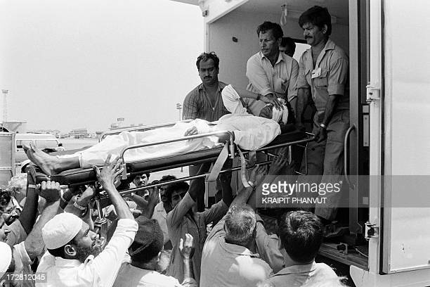 Injured victims are evacuated to a US military hospital in Germany on September 6 1986 after after a 16hour siege of the Boeing 747121 of the Pan Am...