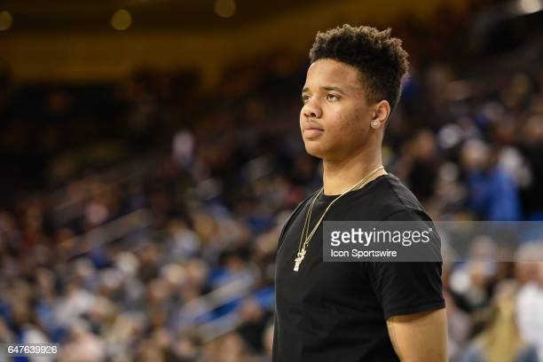 Injured Washington guard Markelle Fultz looks on before a college basketball game between the Washington Huskies and the UCLA Bruins on March 1 at...