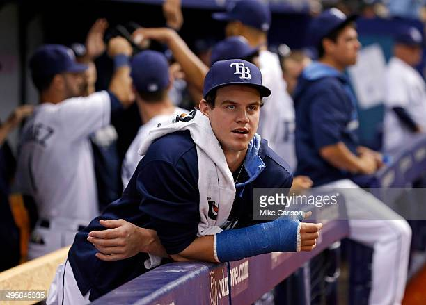 Injured Wil Myers of the Tampa Bay Rays reacts between innings of a baseball game against the Miami Marlins at Tropicana Field on June 4 2014 in St...
