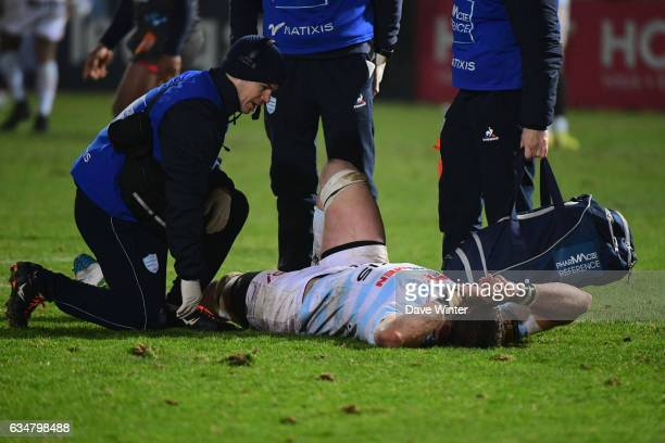 Injury for Gerbrandt Grobler of Racing 92 during the Top 14 match between Racing 92 and Aviron Bayonnais Bayonne on February 11 2017 in Colombes...