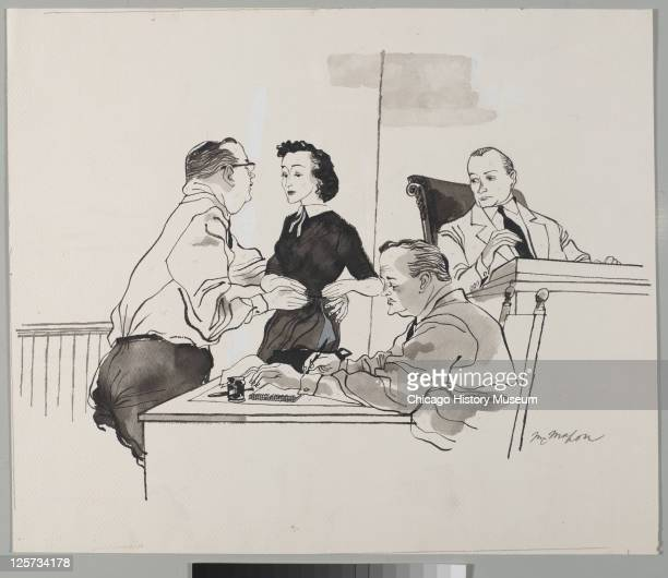 Ink and wash illustration shows defense attorney Caleb Sidney Carlton and defense witness Carolyn Bryant during the trial of her husband Roy Bryant...