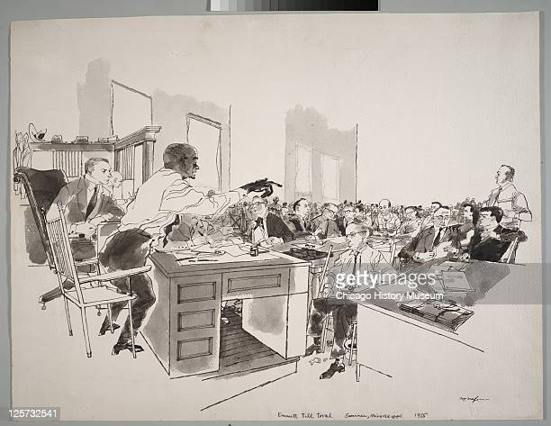 Ink and wash illustration shows Moses Wright as he points out the accused in open court during the trial of JW Milam and Roy Bryant in the...