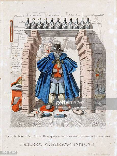 Ink and water colour etching of Cholera Prevention Man dressed in a large blue overcoat a clay pipe in one hand and a mask over his face He is...
