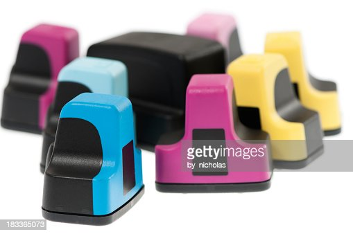 Ink cartridges to recycle, isolated on white