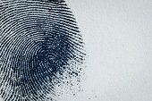 Thumbprint on paper. Macro.