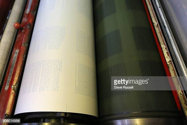 Ink is transferred from a plate left to a blanket that in turns transfers the ink to the page on a Heidelberg offset and letterset pressCoach House...