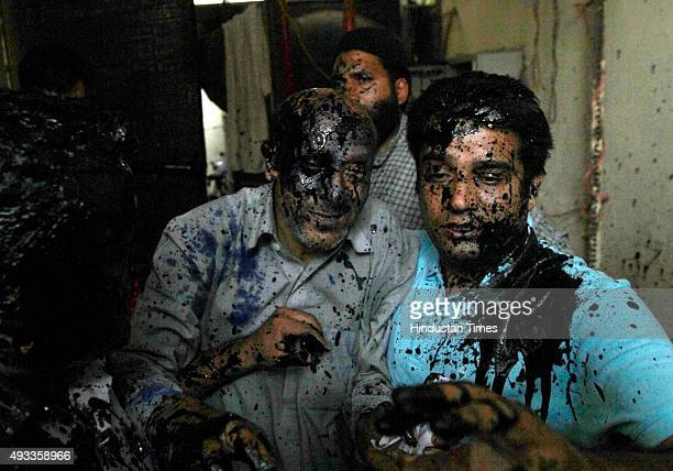 Ink thrown on the independent legislator from Jammu and Kashmir Engineer Rashid after he held a press meet to criticise a firebomb attack in Udhampur...