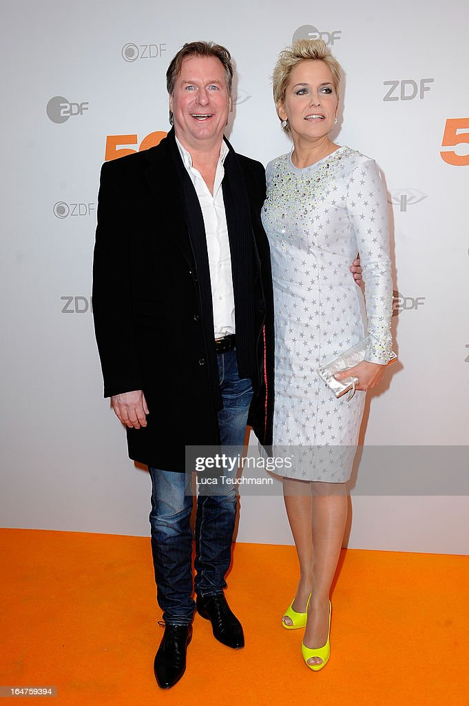 Inka Bause and guest pose on March 27, 2013 after a taping of one of the segments of the television program '50 Jahre ZDF' (50 Years of ZDF) in Berlin, Germany. The television network ZDF, known for its TV programs 'heute' and 'Wetten Dass..?' was founded in 1961 and is celebrating its 50th birthday with the broadcast of an anniversary show.