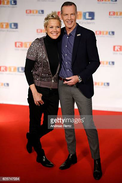 Inka Bause and Henry Maske are seen in the studio of the RTL Telethon TV show on November 25 2016 in Cologne Germany The telethon is held every year...