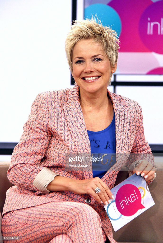 Inka Bause attends a photocall for her new talkshow 'inka!' at the ZDS studios 'Fernsehwerft' on August 22, 2013 in Berlin, Germany.