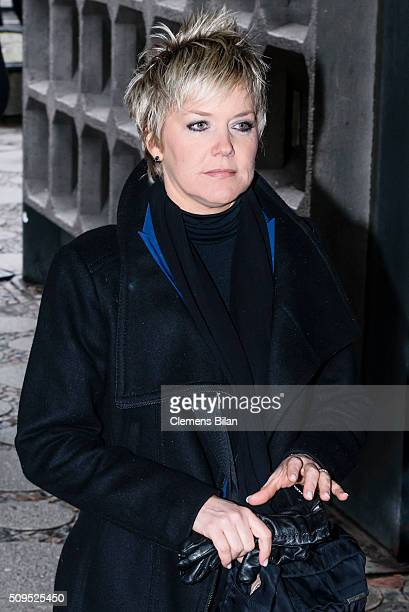 Inka Bause attends the Wolfgang Rademann memorial service on February 11 2016 in Berlin Germany