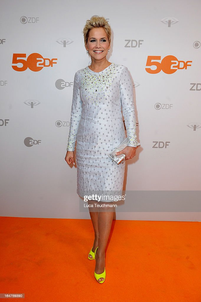 Inka Bause poses on March 27, 2013 after a taping of one of the segments of the television program '50 Jahre ZDF' (50 Years of ZDF) in Berlin, Germany. The television network ZDF, known for its TV programs 'heute' and 'Wetten Dass..?' was founded in 1961 and is celebrating its 50th birthday with the broadcast of an anniversary show.