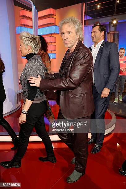 Inka Bause Thomas Gottschalk and Lars Riedel are seen in the studio of the RTL Telethon TV show on November 25 2016 in Cologne Germany The telethon...