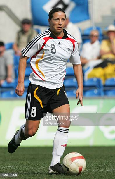 Inka Grings in action during the Women's Algarve Cup match between Germany and Sweden at the Algarve stadium on March 9 2009 in Faro Portugal