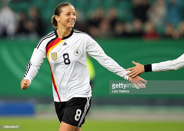 Inka Grings of Germany celebrates a goal during the women's international friendly match between Germany and Australia at Volkswagen Arena on October...